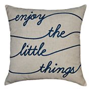 Spencer Home Decor ''Enjoy the Little Things'' Embroidered Throw Pillow