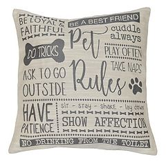 Spencer Home Decor ''Pet Rules'' Throw Pillow