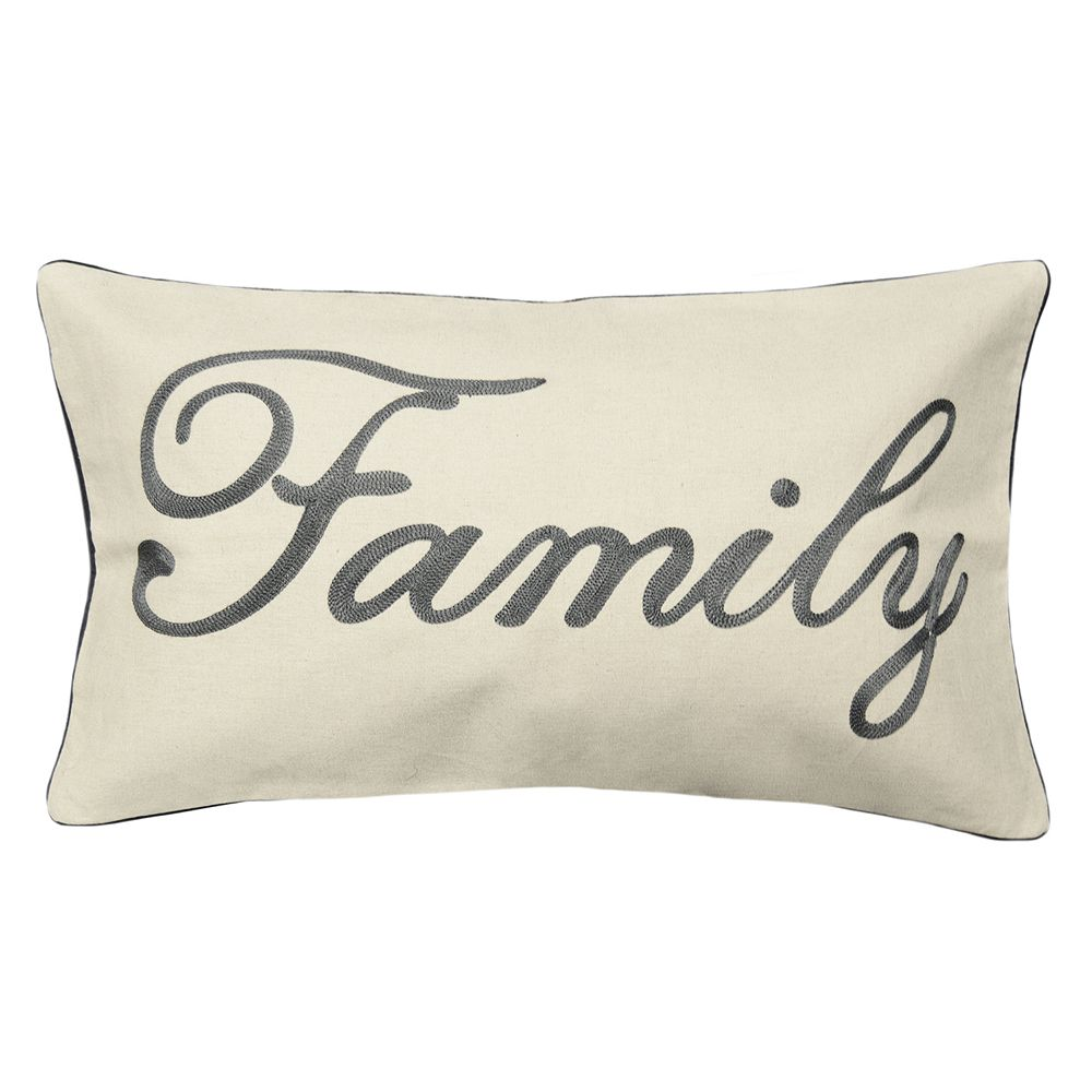 Spencer Home Decor ''Family'' Embroidered Oblong Throw Pillow