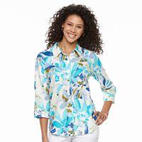 Women's Cathy Daniels Floral Linen Blend Shirt