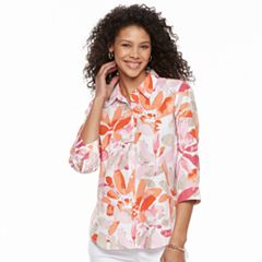Women's Cathy Daniels Floral Linen Blend Shirt