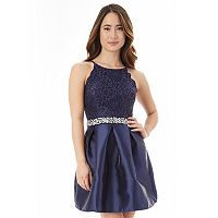 Juniors' IZ Byer Lace Fit & Flare Prom Dress