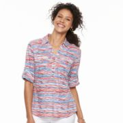 Women's Cathy Daniels Roll-Tab Striped Shirt