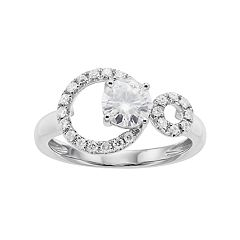 Forever Classic 14k White Gold 1 Carat T.W. Lab-Created Moissanite Double Circle Ring