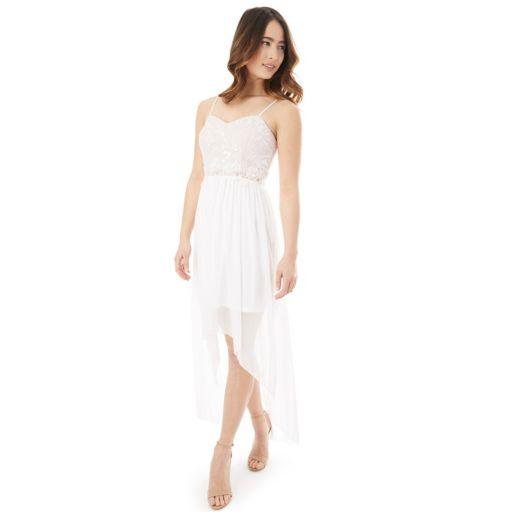 Juniors' IZ Byer Lace High-Low Prom Dress