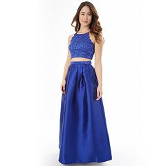 Juniors' IZ Byer Scalloped Lace 2-Piece Prom Dress