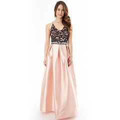 Juniors' IZ Byer Pleated Lace Prom Dress