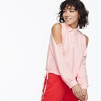 k/lab Button Front Cold-Shoulder Blouse
