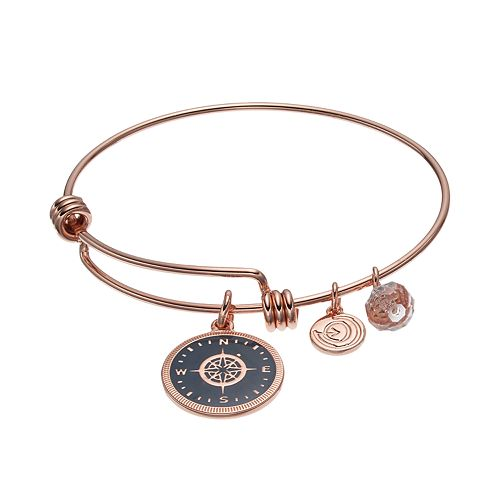 "love this life ""Lost Without You"" Crystal Compass Charm Bangle Bracelet"