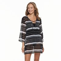 Women's Portocruz Striped Lace-Up Cover-Up Tunic