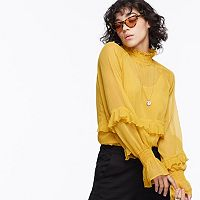 k/lab Mockneck Ruffled Blouse