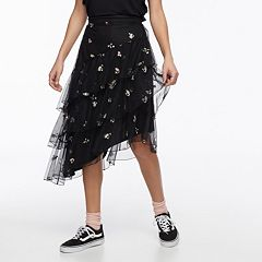 k/lab Floral Asymmetrical Tiered Ruffled Skirt