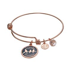 love this life 'Friends Forever' Crystal Bird Charm Bangle Bracelet