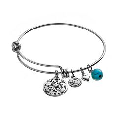 love this life 'Friends' Turquoise Compass Charm Bangle Bracelet