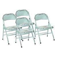 OSP Designs Bristow Metal Folding Chair 4 pc Set