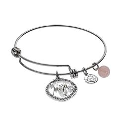 love this life 'Mom' Silver Plated Rose Quartz & Crystal Bangle Bracelet