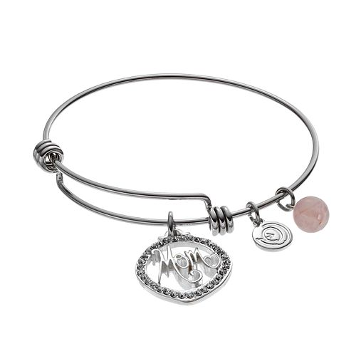 "love this life ""Mom"" Silver Plated Rose Quartz & Crystal Bangle Bracelet"