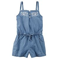 Toddler Girl Carter's Embroidered Top Chambray Romper