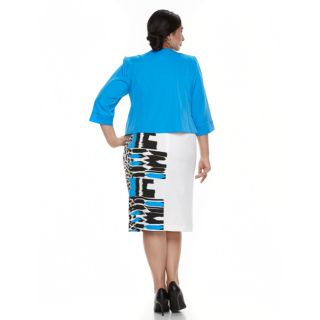 Plus Size Maya Brooke Colorblock Dress & Jacket Set