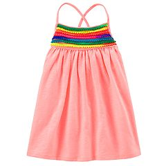 Toddler Girl Carter's Rainbow Pom-Pom Trim Dress