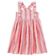 Toddler Girl Carter's Striped Ruffle Gauze Tank Dress