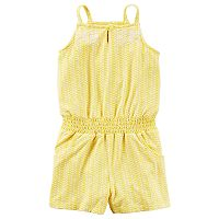 Toddler Girl Carter's Patterned Smocked Yellow Romper