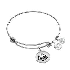 love this life 'Love You Mom' Silver Plated Crystal Bangle Bracelet