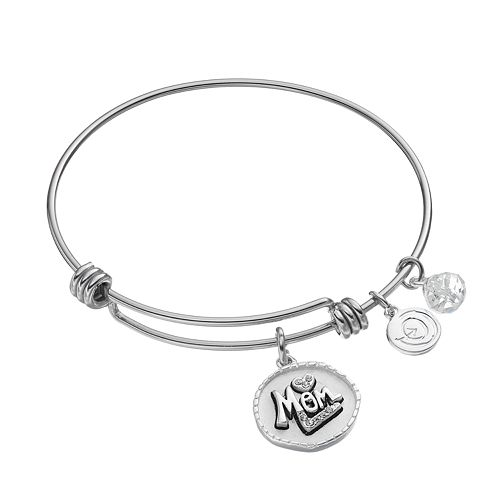 "love this life ""Love You Mom"" Silver Plated Crystal Bangle Bracelet"