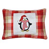 Spencer Home Decor Holiday Patrick Penguin Plaid Oblong Throw Pillow
