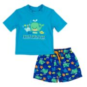Toddler Boy Kiko & Max Whales Rashguard & Swim Trunks Set