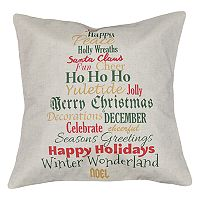 Spencer Home Decor Holiday Word Tree Throw Pillow