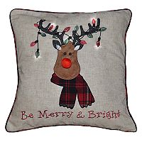 Spencer Home Decor Holiday Moose Head ''Be Merry & Bright'' Throw Pillow