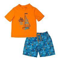 Toddler Boy Kiko & Max Sail Boats Rashguard & Swim Trunks Set