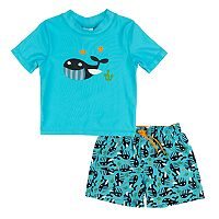 Toddler Boy Kiko & Max Whales & Fish Rashguard & Swim Trunks Set