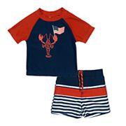 Toddler Boy Kiko & Max Patriotic Lobster Rash Guard Top & Swim Trunks Set