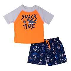 Toddler Boy Kiko & Max 'Snack Time' Shark Rash Guard & Swim Trunks Set