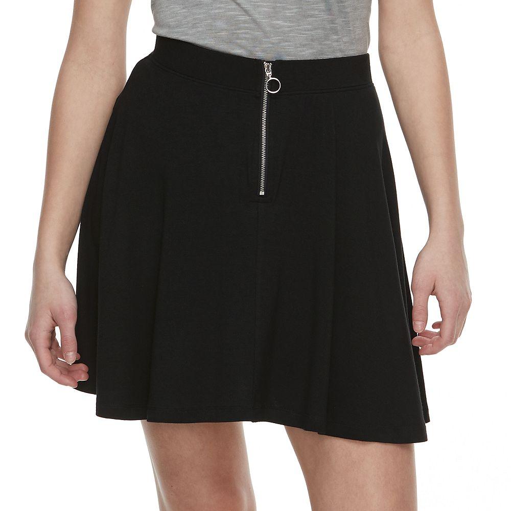 Juniors' SO® Zip-Front Skater Skirt