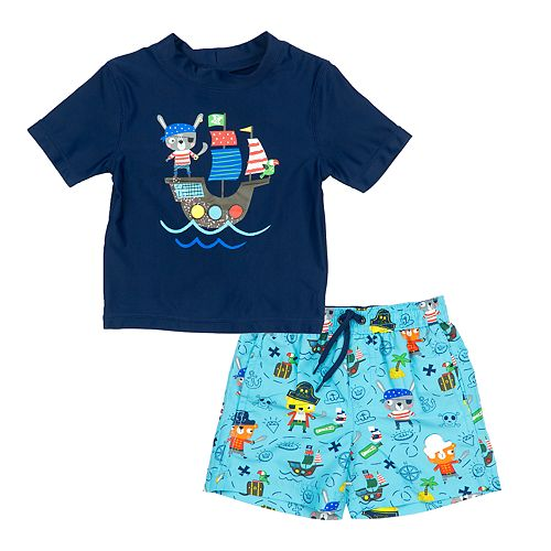 f36b170c9ce30 Toddler Boy Kiko & Max Pirate Ship Rash Guard Top & Swim Trunks Set
