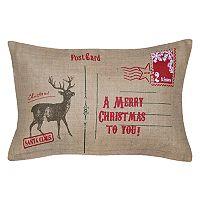 Spencer Home Decor Holiday Deer Postcard Oblong Throw Pillow