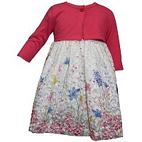 Toddler Girl Blueberi Boulevard Embroidered Dress & Cardigan Set