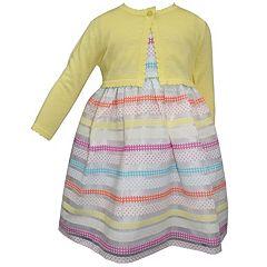 Toddler Girl Blueberi Boulevard Striped Dress & Cardigan Set