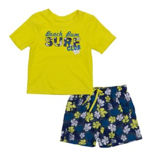 "Baby Boy Kiko & Max ""Beach Bum"" Rash Guard Top & Swim Trunks Set"