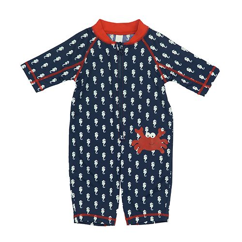 Baby Boy Kiko & Max Seahorse & Crab One-Piece Rashguard Swimsuit