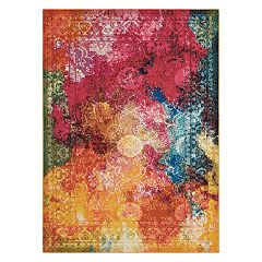 Nourison Celestial Seaglass Abstract Framed Floral Rug