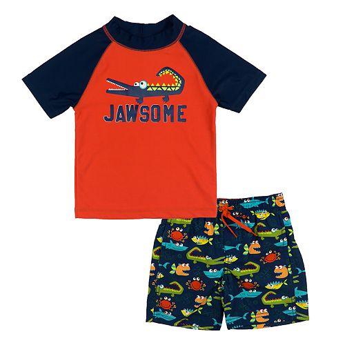 "Baby Boy Kiko & Max ""Jawsome"" Alligator Rashguard & Swim Trunks Set"