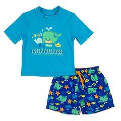 Baby Boy Kiko & Max Whales Rashguard & Swim Trunks Set
