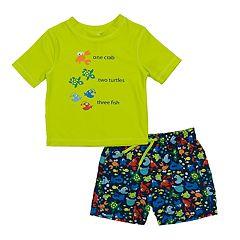 Baby Boy Kiko & Max Crab, Turtles & Fish Rash Guard & Swim Trunks Set