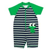 Baby Boy Kiko & Max  Striped Alligator One Piece Rashguard