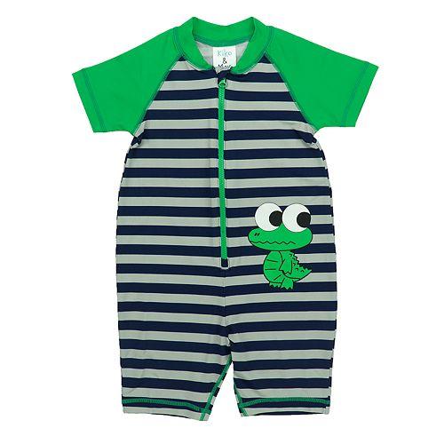 Baby Boy Kiko & Max  Striped Alligator One Piece Rashguard
