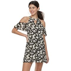 Juniors' Candie's® Floral Cold-Shoulder Swing Dress